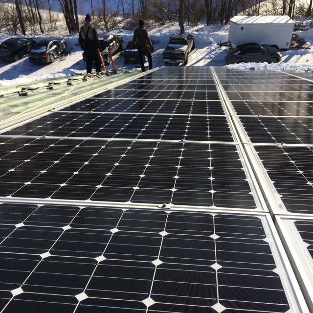 Commercial rooftop solar array in Dorset VT