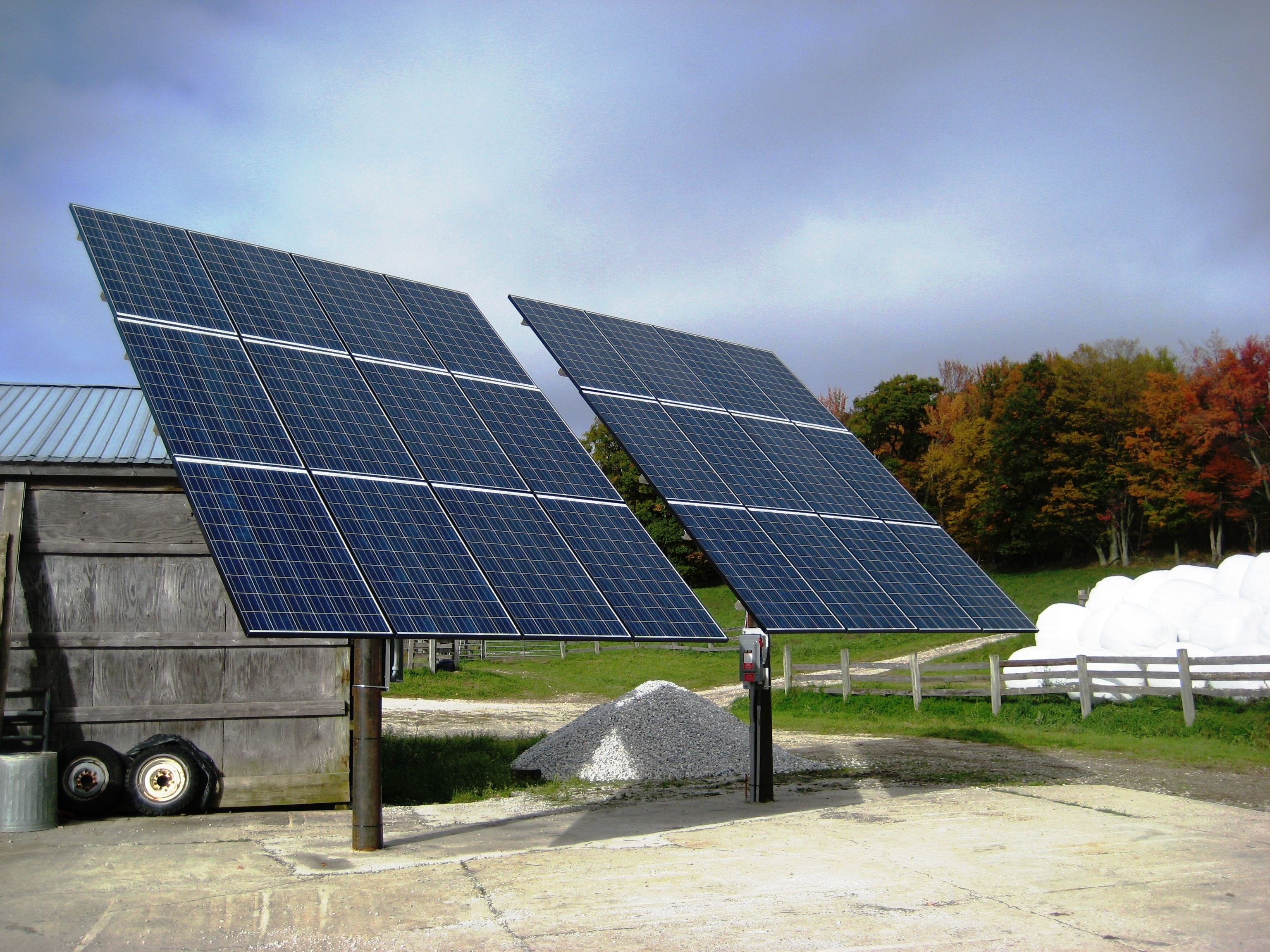 Double pole mount solar installation in Tinmouth Vermont