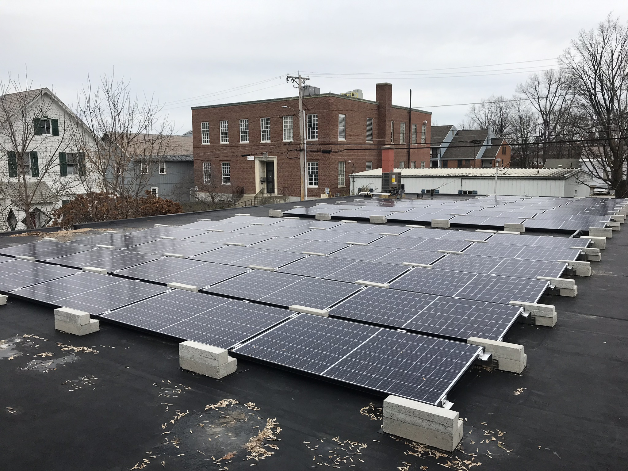 Commercial Solar Power array on a business